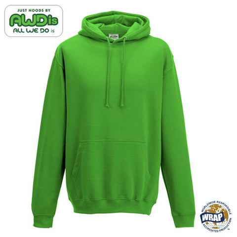 AWDis College Hoodie: LIME GREEN