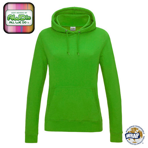 AWDis Girlie College Hoodie: LIME GREEN