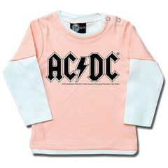 AC/DC Baby Pink Long Sleeved T-Shirt - Classic Logo