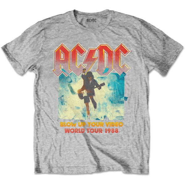 AC/DC Kids T-Shirt - Blow Up Your Video - Grey T-Shirt