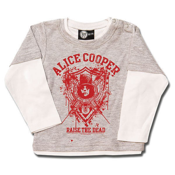 Alice Cooper Raise The Dead Baby Long Sleeve T-Shirt - Grey/Red