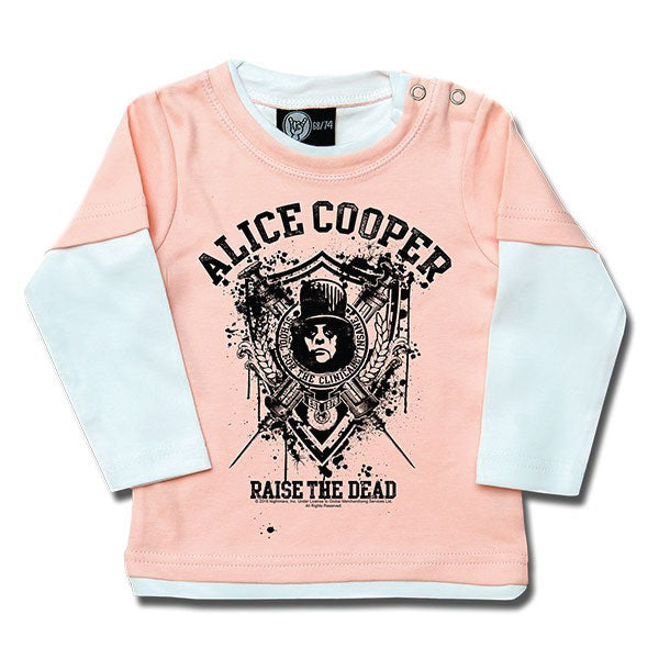 Alice Cooper Raise The Dead Baby Long Sleeve T-Shirt - Pink/White