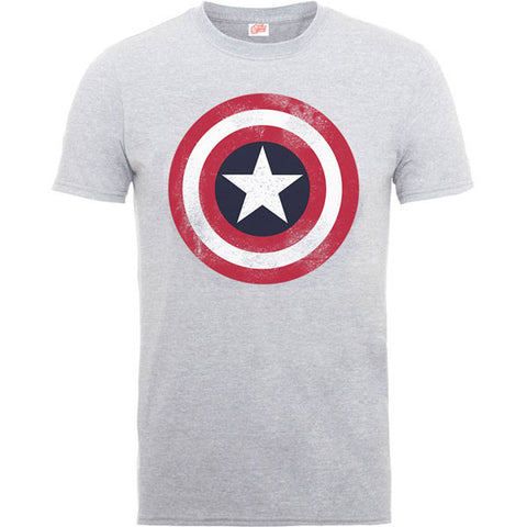 Captain America Kids T-Shirt - Distressed Shield Grey