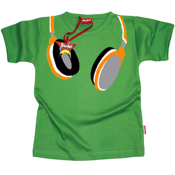 Headphones Kids T-Shirt by Stardust