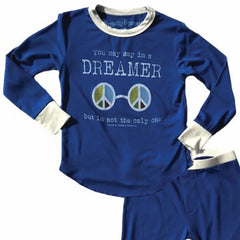 John Lennon Kids Blue Thermal Pyjamas - Dreamer