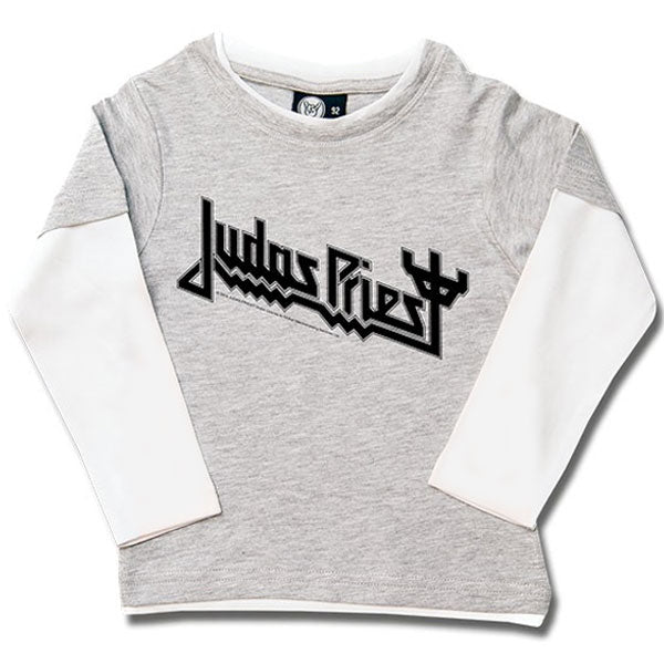 Judas Priest Long Sleeve Kids T-Shirt Logo - Grey