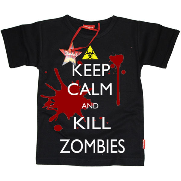 Keep Calm and Kill Zombies Kids T-Shirt by Stardust