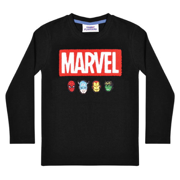Marvel Kids Long-Sleeve T-Shirt - Marvel Fuzzy Logo