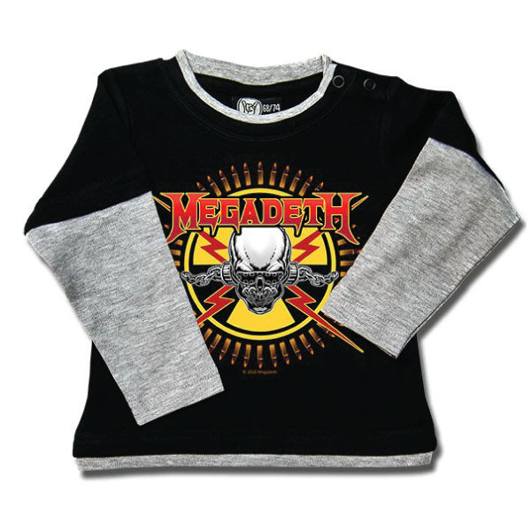 Megadeth Baby Long Sleeved T-Shirt - Skull and Bullets