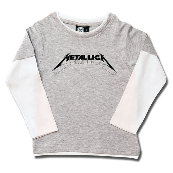 Metallica Kids Long Sleeve Grey T-Shirt - Metallica Logo
