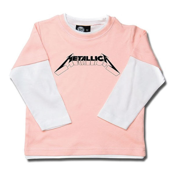 Metallica Kids Long Sleeve Pink T-Shirt - Metallica Logo