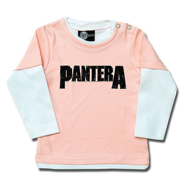 Pantera Baby Long Sleeved T-Shirt Logo - Pink/White