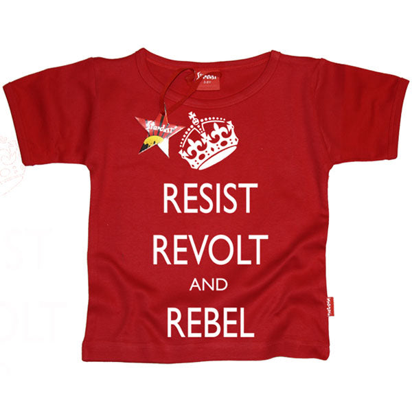 Resist, Revolt and Rebel Kids T-Shirt by Stardust