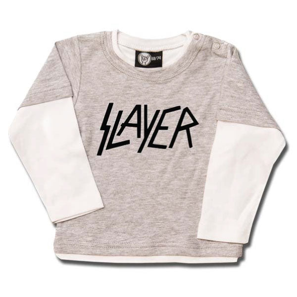 Slayer Baby Long Sleeve T-Shirt Logo - Grey/White