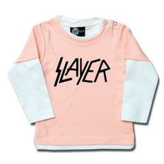 Slayer Baby Long Sleeve T-Shirt Logo - Pink/White