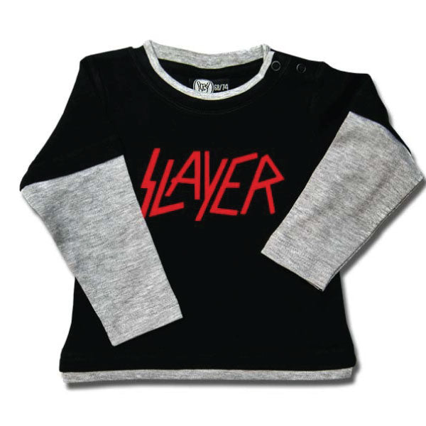 Slayer Baby Long Sleeve T-Shirt Red Logo - Black/Grey
