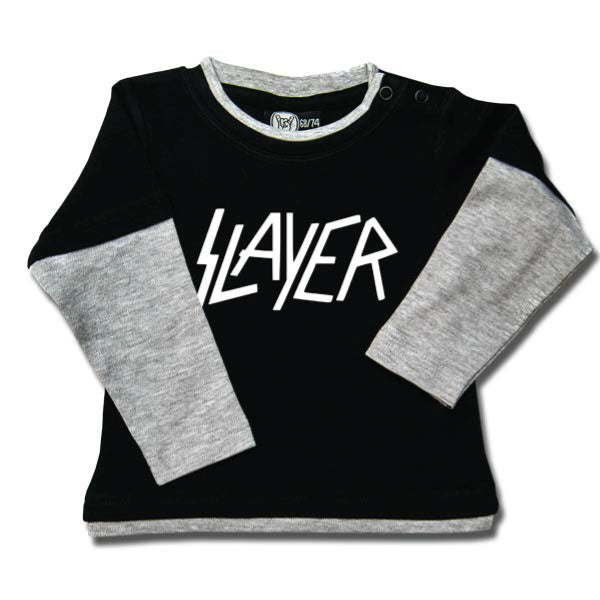 Slayer Baby Long Sleeve T-Shirt White Logo - Black/Grey