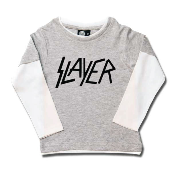 Slayer Kids Long Sleeve T-Shirt Logo - Grey/White