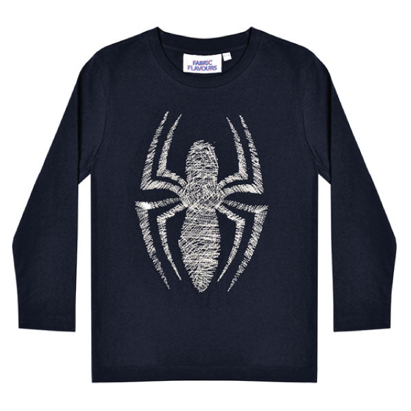 Spiderman Kids Long-Sleeve T-Shirt - Embroidered Silver Spider