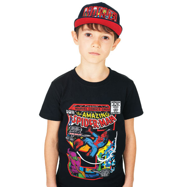 Spiderman Kids T-Shirt - Spiderman Comic Book Appliqué