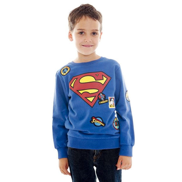 Superman Kids Sweatshirt - Superman Logo and Badges