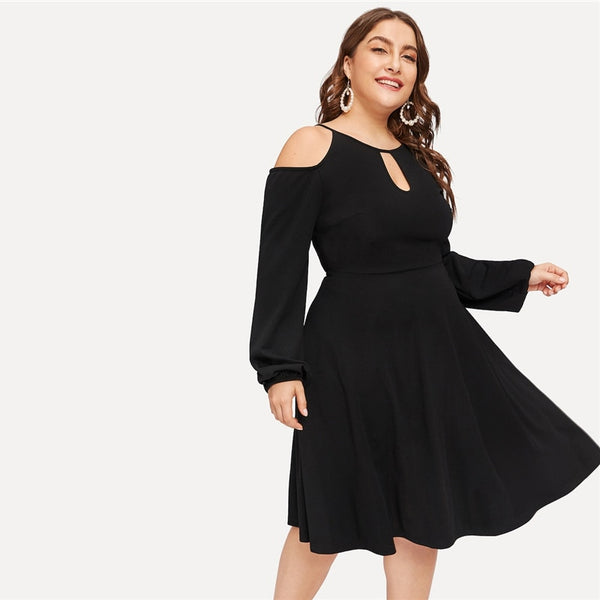 24a28770c1db plus size Glamorous Black Cold Shoulder Cutout Solid Dress Women 2019  Spring Office Lady Fit And