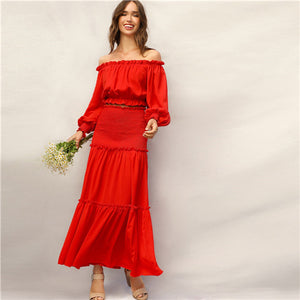 6fb79ed032 Women Clothes SHEIN Boho Red Frill Off Shoulder Smocked Cuff Crop Top and  Shirred Panel Frill Trim Maxi Skirt Set Women Summer Two Piece Set