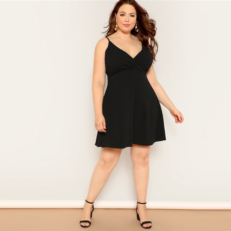 074bc82d0a84 Plus Size Black Surplice Neck Solid Cami Fit And Flare Midi Dress Wome –  Lucstor