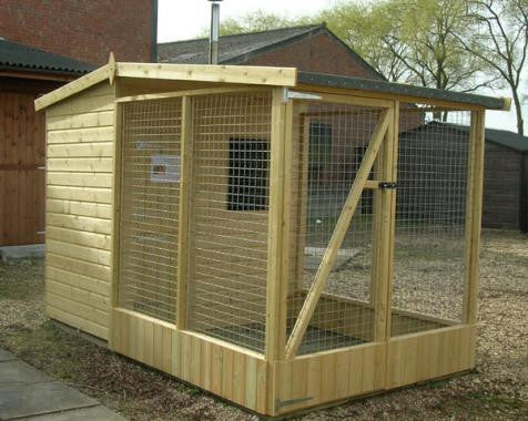 Dog kennel 6' x 4' Pent roof with walk in 6' x 6' Covered run