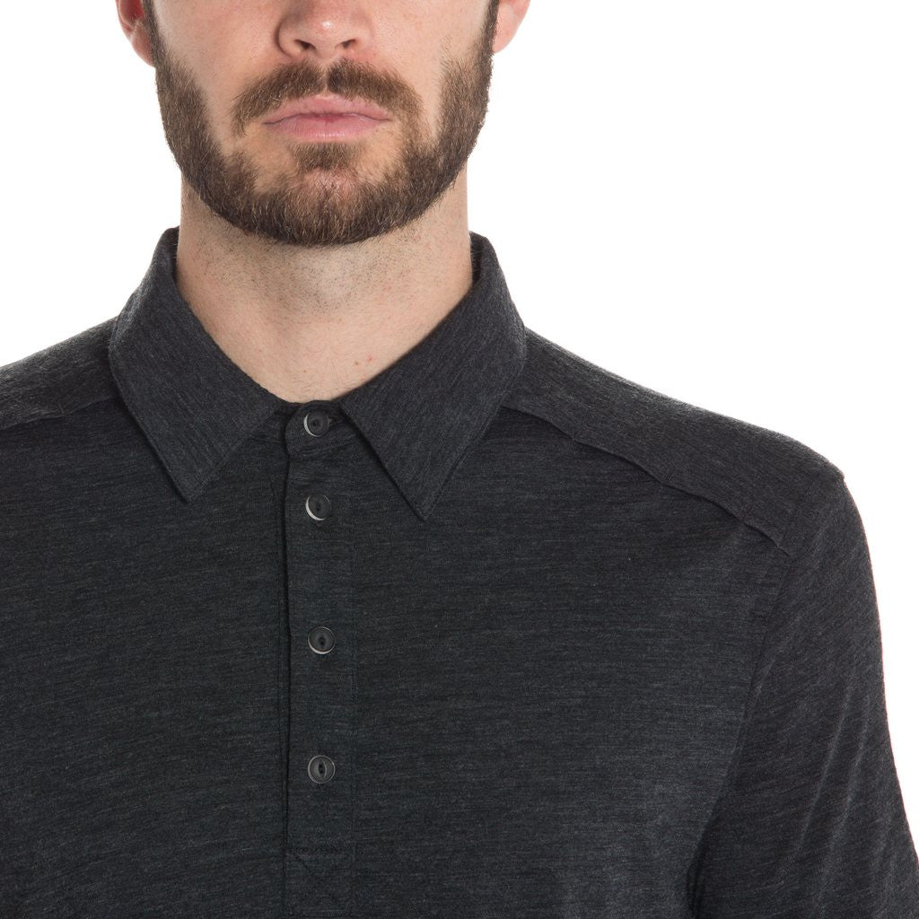MERINO POLO - Black Heather