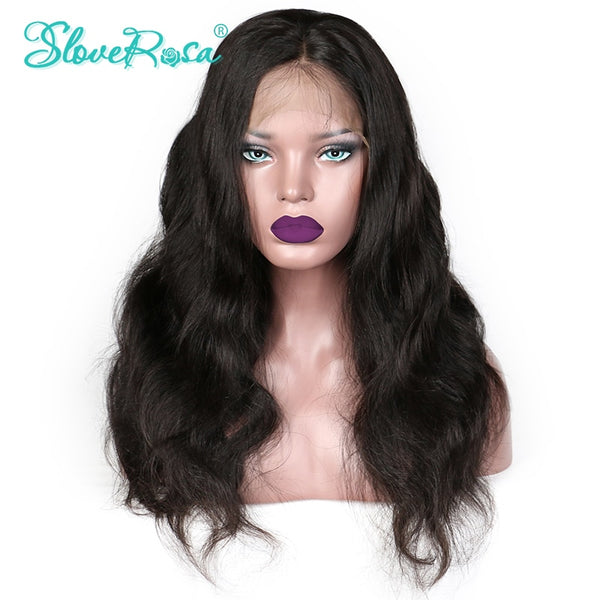 Daria - 250% High Density Wig Lace Front Human Hair Wigs Body Wave Peruvian Remy Wig Bleached Knots Pre Plucked Thick Ends  Slove Rosa