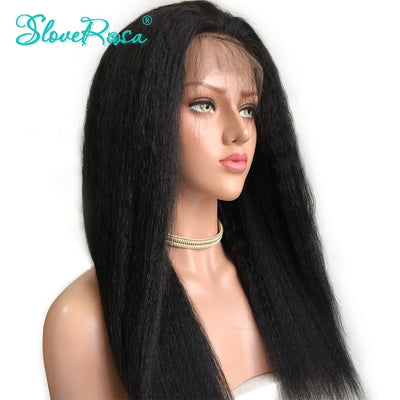 Maya - 360 Lace Frontal Wig Pre Plucked Full Lace Around Human Hair Wigs For Women Black Color 150 Density Kinky Straight Slove Rosa