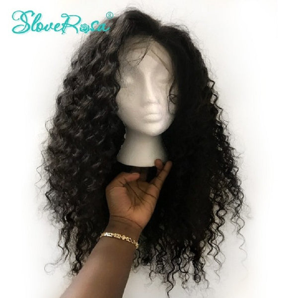 Mila - Brazilian Lace Front Human Hair Wigs With Baby Hair Bleached Knots Pre Plucked Slove Rosa Curly Remy Human Hair Wigs Real Photo