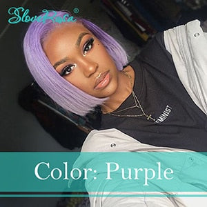 Suzi - Colorful Short Bob Wig Brazilian Remy Hair Lace Front Human Hair Wigs With Baby Hair Pre Plucked Customer-Made Wig Slove Rosa