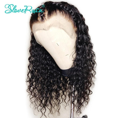 Scarlett - Curly Lace Front Human Hair Wigs For Women Black Color Brazilian Lace Frontal Wig Plucked Full End Can Make 360 Bun Slove Rosa