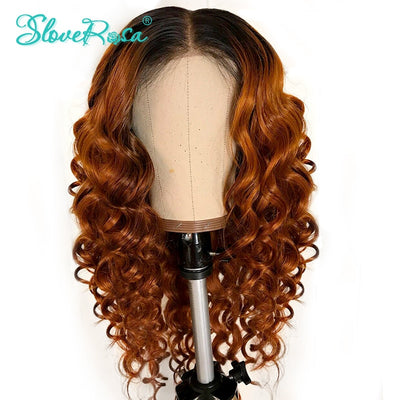 Emma - Curly Lace Front Human Hair Wigs For Women Natural Black & T1B/Orange Color Peruvian Remy Lace Wig Deep Part Full End Slove Rosa