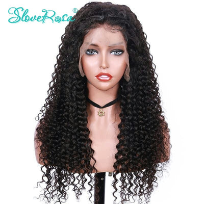 Avery - Full Lace Human Hair Wigs For 150% Remy Human Wigs Brazilian Deep Wave Lace Wigs With Baby Hair Bleached Knots Slove Rosa Hair