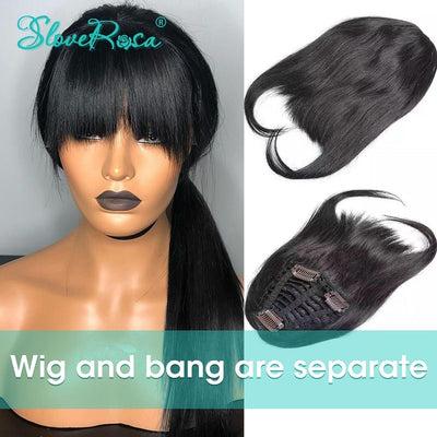Stacy - Straight Lace Front Human Hair Wigs For Women Bleached Knots Brazilian Remy Hair With Bang Natural Hairline Full End Slove Rose