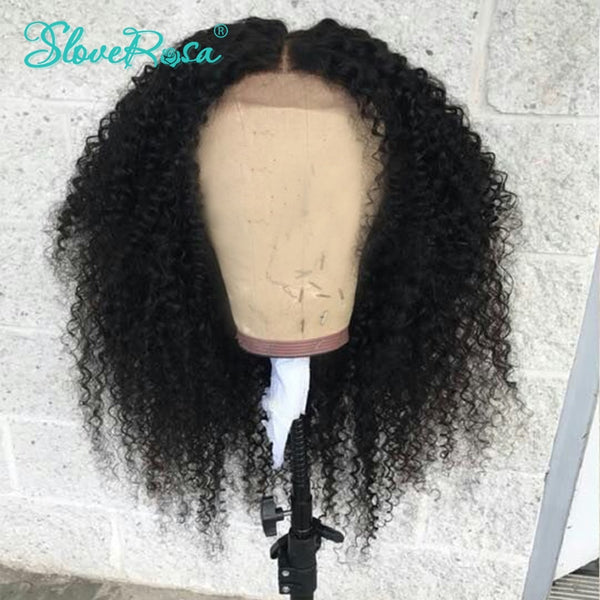 Koko - Kinky Curly Full Lace Human Hair Wigs Brazilian Bleached Knots In Front Can Make 360 Bound Remy Natural Pre Plucked Slove Rosa