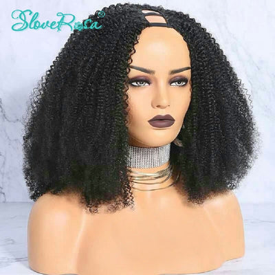 Amelia - Kinky Curly U Part Wig Human Hair Wigs For Women Brazilian Remy Hair 150% Density Natural Color With Adjustable Strap Slove Rosa