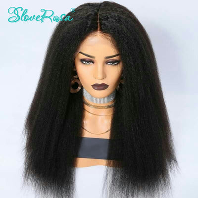 Nora - Kinky Straight Wig Remy Peruvian Lace Front Human Hair Wigs For Women Natural Black Pre Plucked Lace Front Wig Slove Rosa Hair