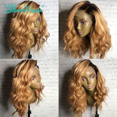 Ava - Ombre Color T1b 27 Blonde Lace Front Human Hair Wigs Dark Roots Brazilian Remy Body Wave Wigs Can Be Dyed Pre Plucked Slove Rosa
