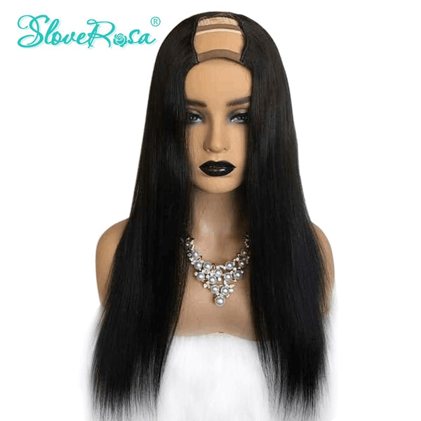 Layla - Straight U Part Wig 100% Human Hair Wigs For Women Brazilian Remy Hair Full End Natural Color With Adjustable Strap Slove Rosa