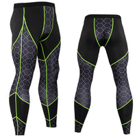 Compressions - Men Running Compression Training Pants - Fitness Sport Web Pattern Bottoms