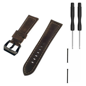 GARMIN - 26mm Genuine Leather Watch Band Strap with Lugs Adapters for Garmin Fenix 3/3 HR/Quatix 3/Tactix Bravo/Fenix 5X/5X Plus