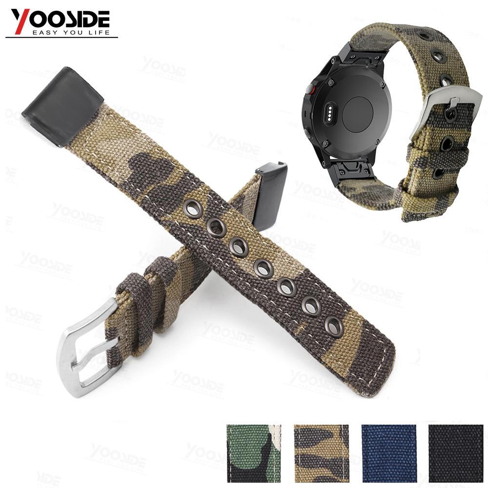 GARMIN - Camouflage Nylon Quick Fit Watch Band Strap for Garmin Fenix 5 Plus/ Fenix 5/ 935/ Approach S60/ Fenix 5X Plus