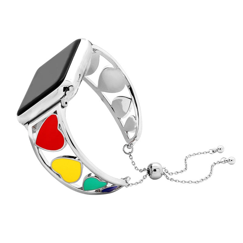 APPLE - Stainless Steel Love Heart Bracelet For Apple Watch Series 1 2 3 - 38mm/ 42mm