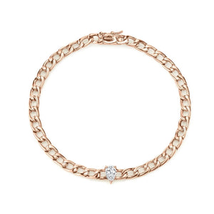 Chain Bracelet with Pear Diamond Centre