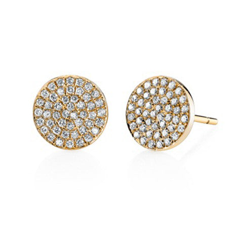 Large Pave Disc Studs