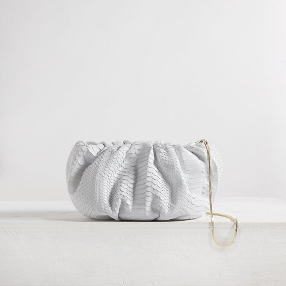 Large Bubble Clutch Python White
